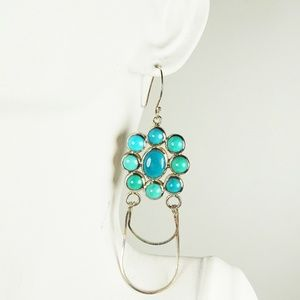 NATIVE AMERICAN SS Turquoise Cabochons Earrings
